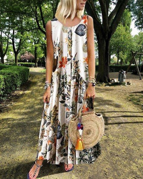 Vintage Floral Print Sleeveless Crew Neck Plus Size Dress