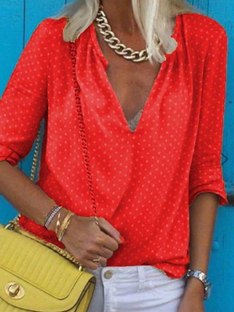 Casual Shift Long Sleeve V Neck Shirts & Tops