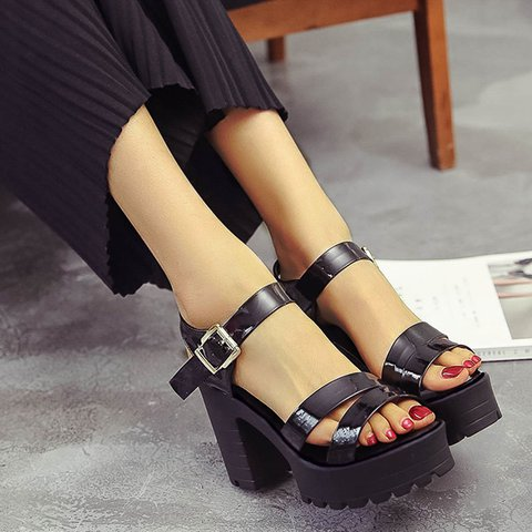 Button Date High Heel Artificial Leather Sandals