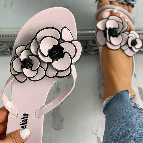 Women Summer Flower  Flat Heel Slippers