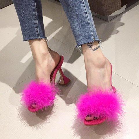 Feather Spool Heel Elegant Slippers