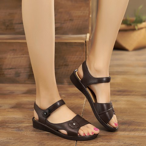 Peep Toe Casual Black Flat Heel Sandals
