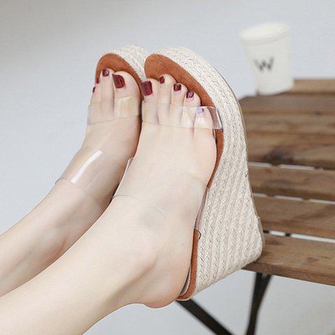 Brown Wedge Heel Holiday Slippers