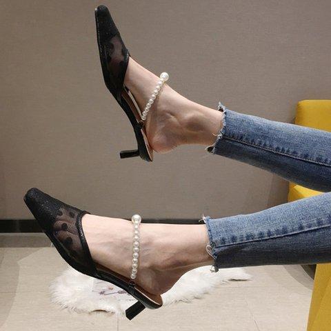 Mesh Imitation Pearl Stiletto Heel Slippers