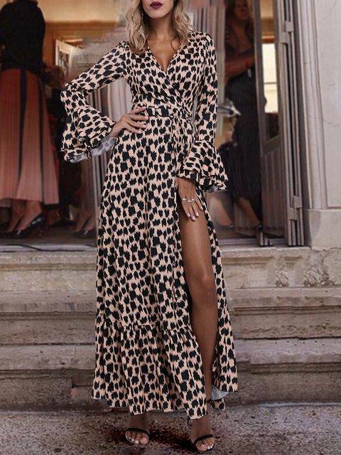 Ruffled Slit Leopard Print Elegant Maxi Dress