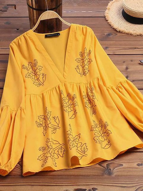 Yellow Floral Long Sleeve Shirts & Tops