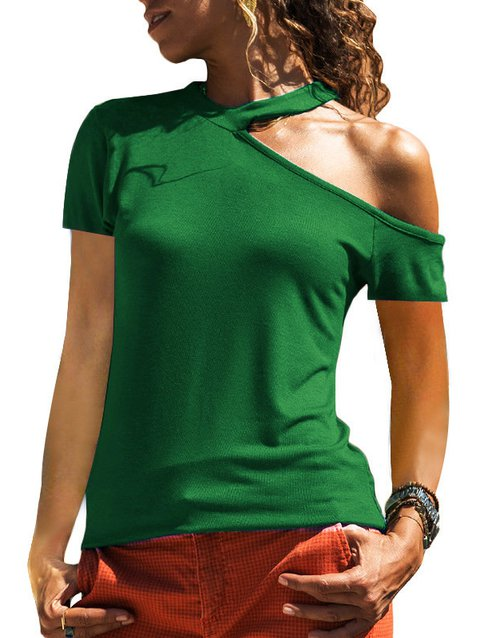 Casual Paneled Cotton-Blend One Shoulder Shirts & Tops