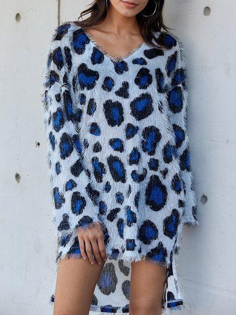 Blue Leopard Print Statement Dresses
