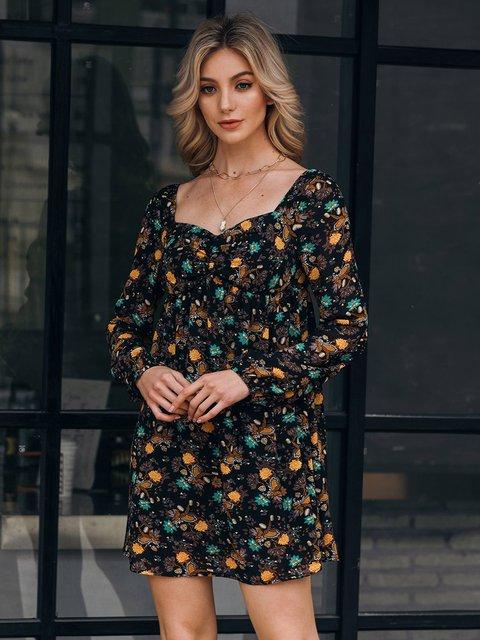 Black Long Sleeve Square Neck Floral Sheath Dresses