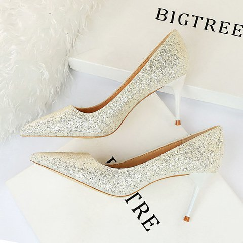 Sequin Pointed Toe Elegant Pumps