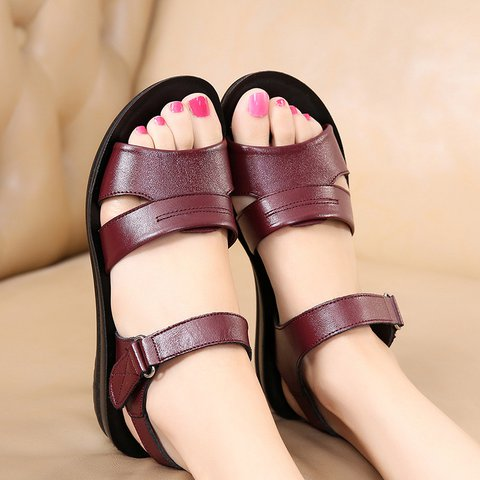 Pi Clue Cowhide Leather Daily Summer Sandals