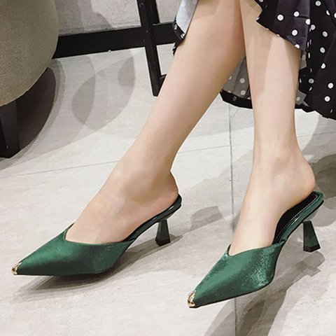 Pointed Toe Stiletto Heel Elegant Slippers