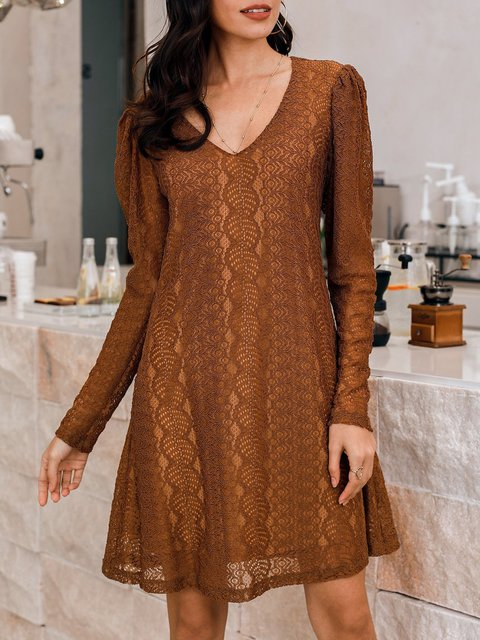 Brown Long Sleeve Lace Dresses