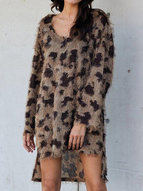 Khaki V Neck Shift Long Sleeve Leopard Print Dresses