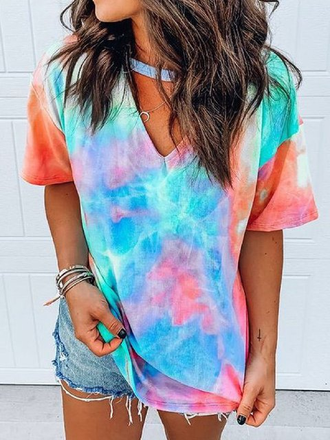 Women Casual Plus Size Colorful Tie Dye Tee Shirt Tops