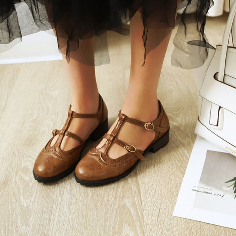 Vintage Closed Toe Low Heel Brown Leather Working Sandals Oxfords