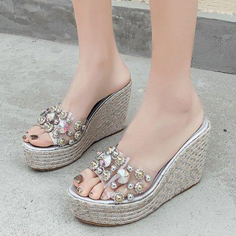 Crystal Rivet Wedge Heel Slippers