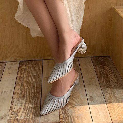 Chunky Heel Pointed Toe Daily Slippers
