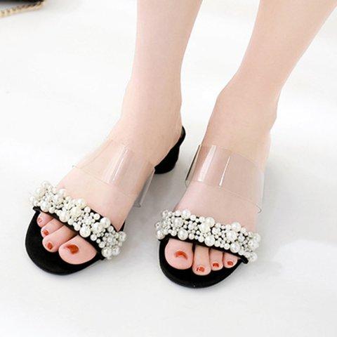 Black Chunky Heel Summer Imitation Pearl Date Pu Slippers