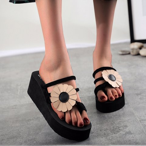Pu Summer Block Heel Applique Slippers