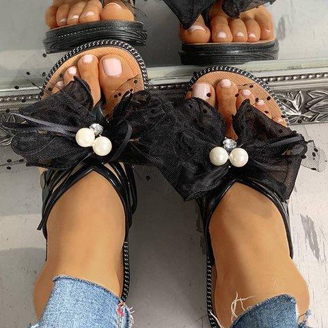 Beaded Multi-Strap Mesh Bowknot Flat Sandal