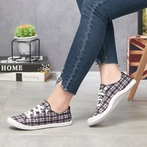 Black Lace-Up Summer Cloth Sneakers