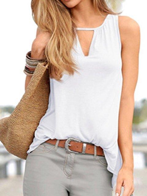 White Sleeveless V Neck Shirts & Tops