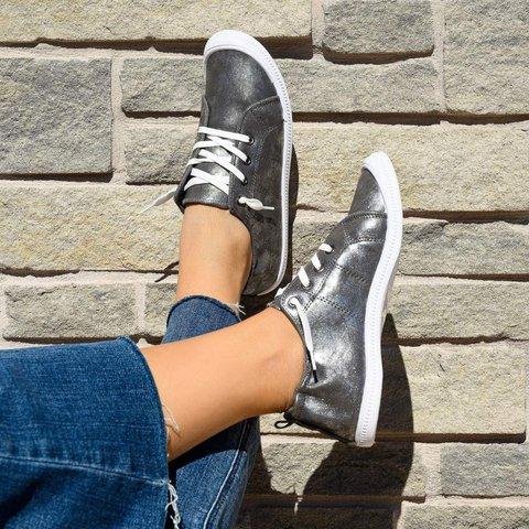 Women Summer Lace-Up Flat Heel Sneakers