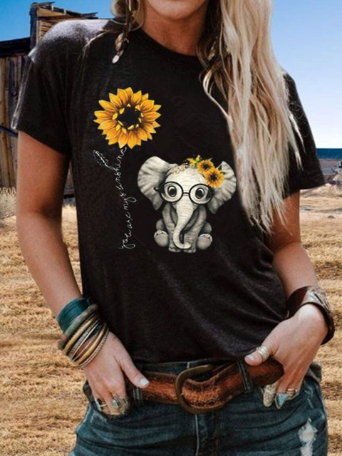 Vintage Short Sleeve Cute Sunflower Elephant Printed Plus Size Casual Tops