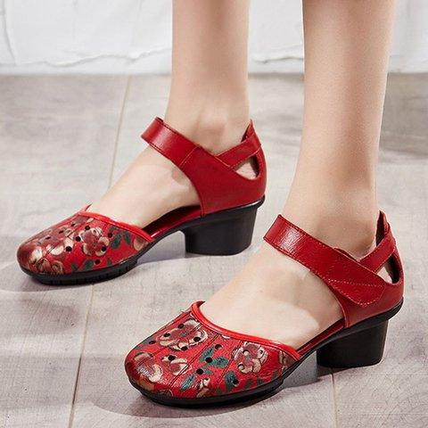 Printed Chunky Heel Casual Sandals
