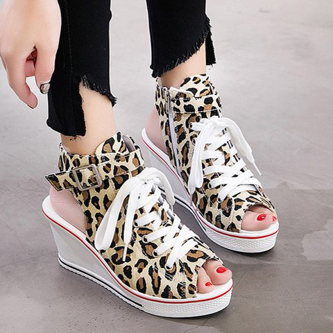 Women Peep Toe Wedge Heel Lace-Up Casual Pu Sandals