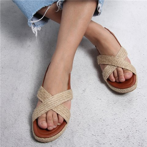 Women Casual Daily Comfy Criss-Cross Slip On Sandals