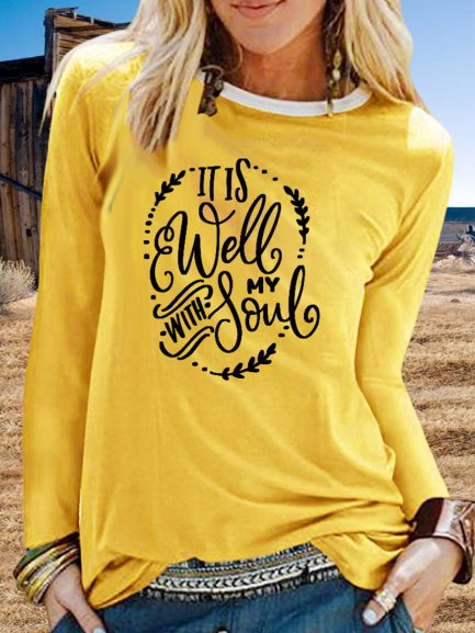 Vintage Long Sleeve Letter Printed Plus Size Casual Tops