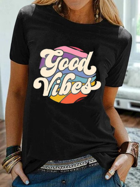 Vintage Short Sleeve Rainbow Good Vibes Letter Printed Plus Size Casual Tops