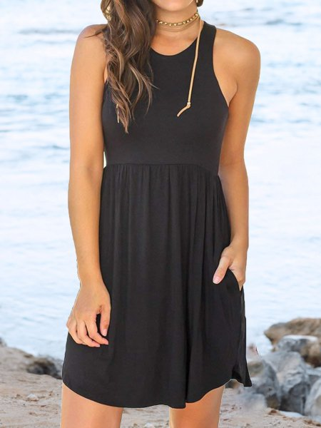 Crew Neck Solid Sleeveless Casual Dresses