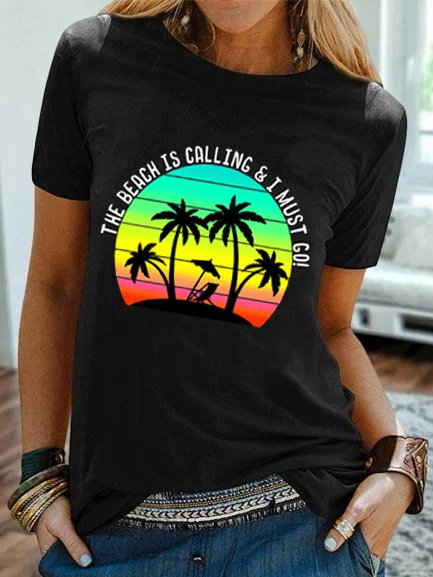 Printed Short Sleeve Crew Neck Casual Shirts & Tops