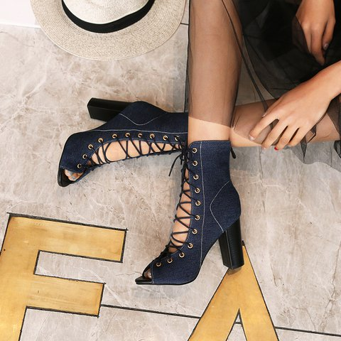 Oversized Fish Mouth Chunky Heel Side Zip Lace-Up Sandals