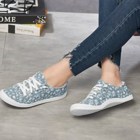 Blue Summer Lace-Up Printed Canvas Sneakers