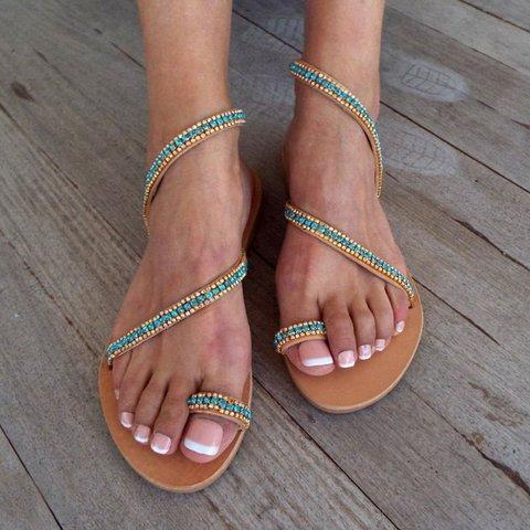 Womens Handmade Rhinestone Flip-flops Boho Flat Heel Beach Sandals