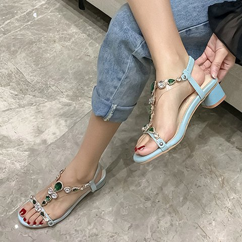 Rhinestone Crystal Chunky Heel Sweet Sandals
