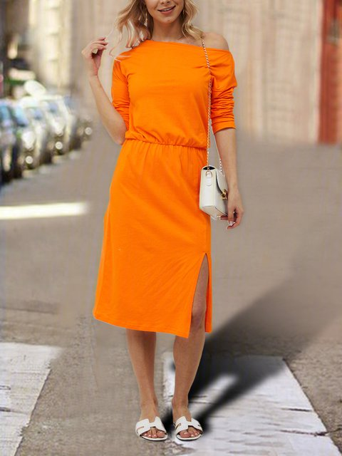 Crew Neck Orange Women Dresses Cotton-Blend Dresses