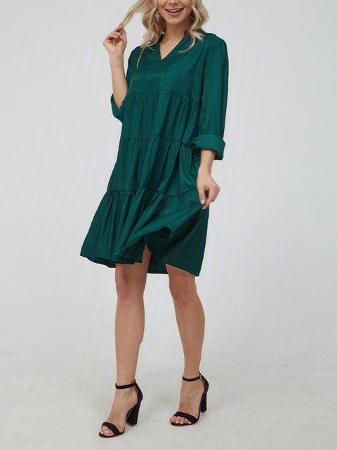 V Neck Green Women Dresses Casual Gathered Dresses