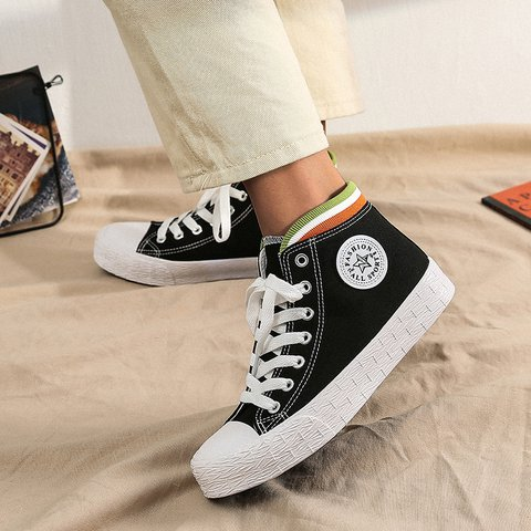 Casual Lace-Up Canvas Sneakers