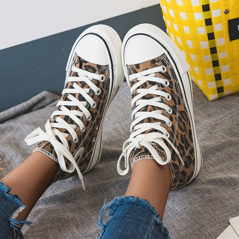 Leopard Winter Canvas Flat Heel Daily Lace-Up Sneakers