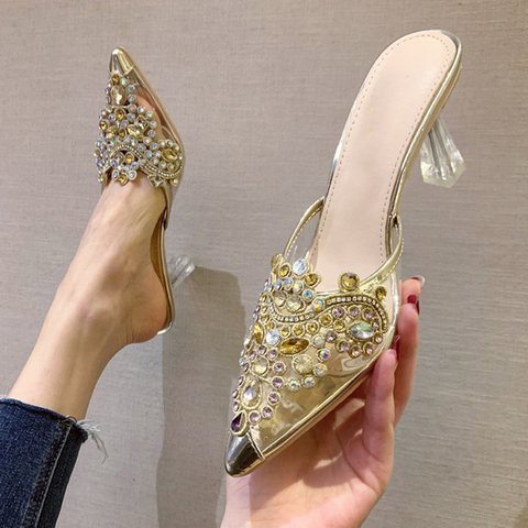 Rhinestone Chunky Heel Elegant Slippers