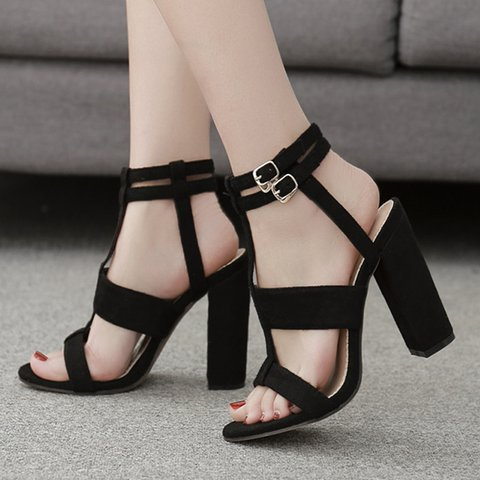 Black Summer Buckle Holiday Sandals