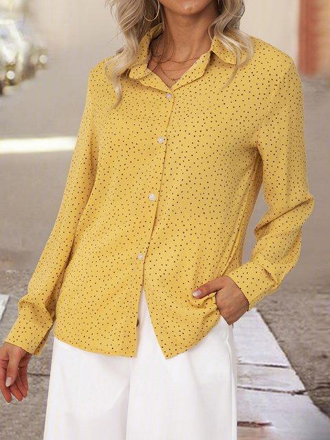 Orange Long Sleeve Shirt Collar Polka Dots Floral-Print Shirts