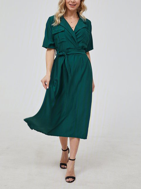 Dark Green Casual Plain Shirt Collar Dresses