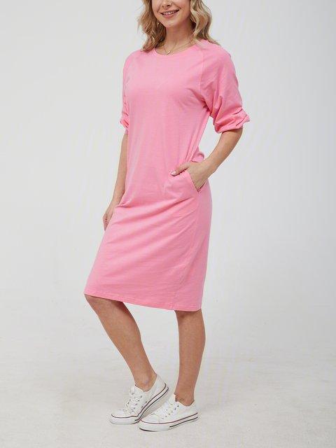 Crew Neck Pink Women Dresses Daily Cotton Pockets Dresses