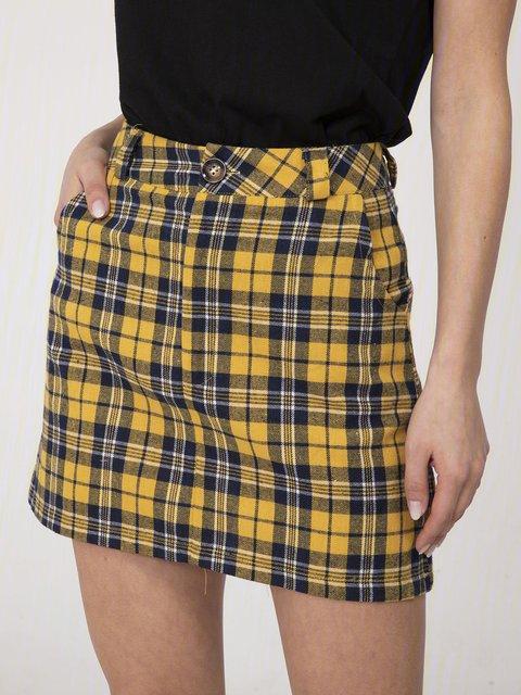 Yellow Casual Checkered/plaid Skirts